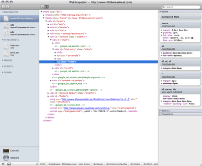 The WebKit Web Inspector displaying the CSS properties of the selected DOM element.