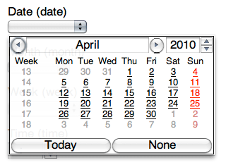 Opera displays a date picker for input type=date