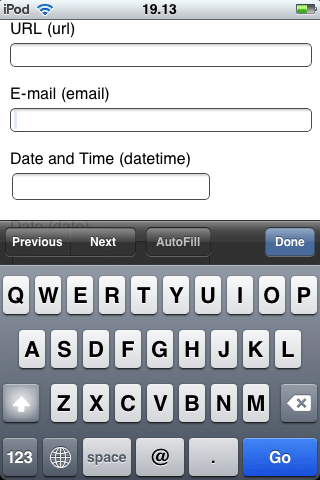 Mobile Safari displays letters and typical email address characters for input type=email.