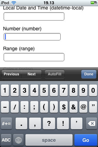 Mobile Safari displays numbers and common separator characters for input type=number.