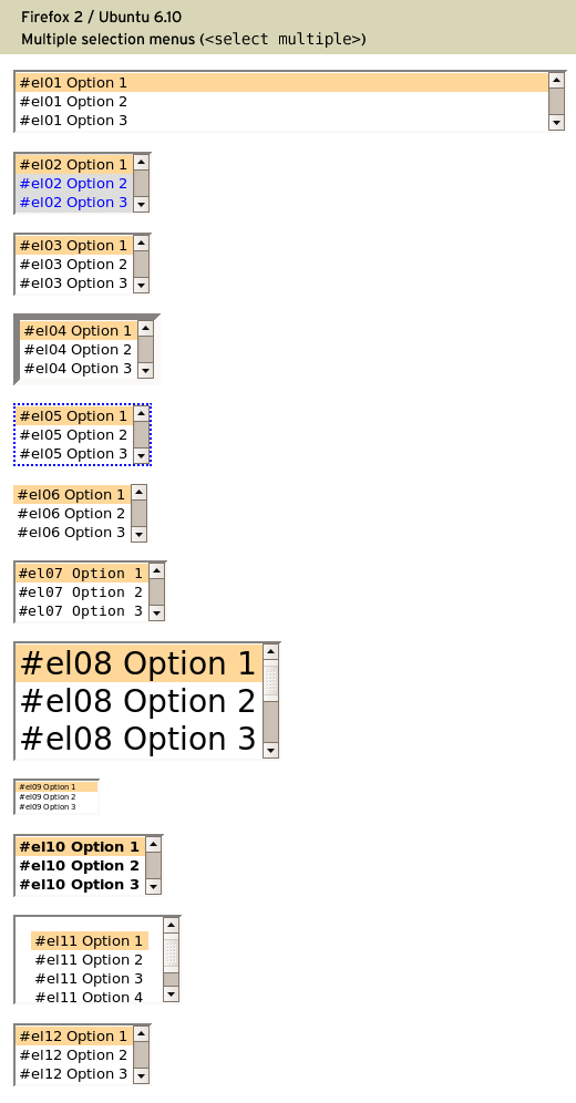 Styling multiple selection menu controls (select elements) with CSS